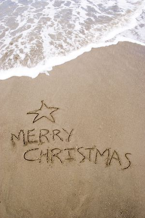 Christmas tree in the sand. A summer Christmas in the Southern Hemisphere. Stock Photo - 2545454
