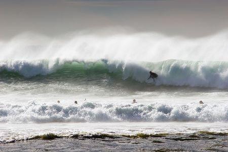 Surfing the break at Haumoana Beach, Hawkes Bay, New Zealand Stock Photo