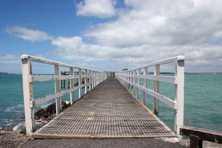 Wharf at Rangitoto Island, Hauraki Gulf, New Zealand Stock Photo