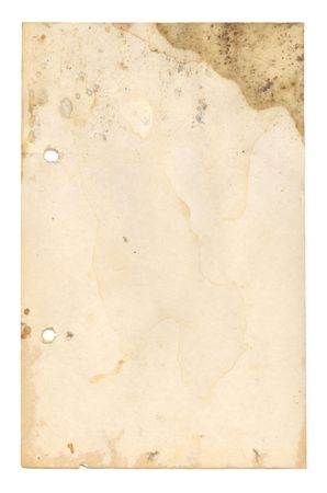 an old recipe page suffering from wear and tear and water damage Stock Photo - 2567650