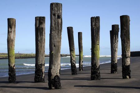 poles in the sand at Patea, Taranaki, New Zealand