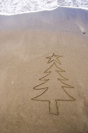 hemisphere: Christmas tree in the sand. A summer Christmas in the Southern Hemisphere.