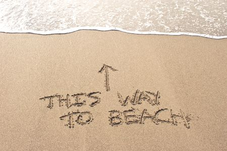 aotearoa: This way to beach written in the sand at Haumoana Beach, Hawkes Bay, New Zealand