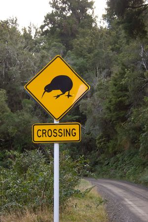 A Kiwi Crossing sign near Boundary Stream Reserve, Hawkes Bay, New Zealand. The return of kiwi to the Boundary Stream reserve is a star turn. Under the management of Department of Conservation rangers and staff and scores of volunteers have reintroduced