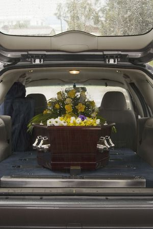 Casket at a funeral Stock Photo