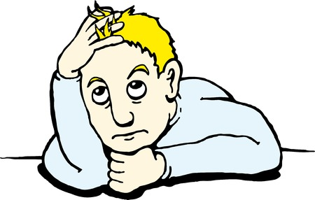 melancholy: Teken de uiting van extreme verveling rust zijn kin op zijn hand en speelt met zijn haren Stock Illustratie