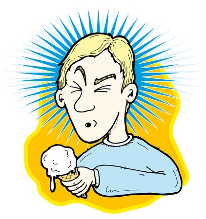 Illustration of a person getting brain freeze. An ice cream headache is triggered by a sudden change in temperature that occurs in your mouth when you eat something cold. Vector