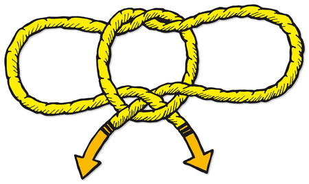 hobble: An illustration of how to tie a Handcuff Knot or a Hobble Knot. Illustration