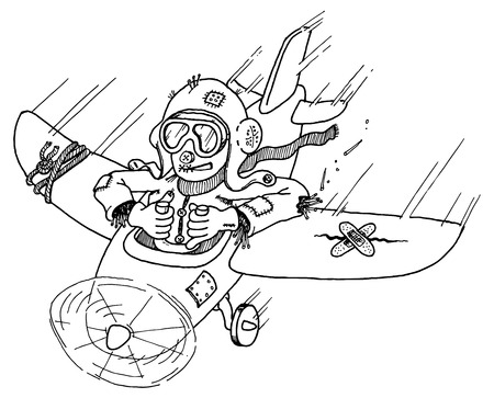 A scarecrow pilot flies a falling-apart aeroplane