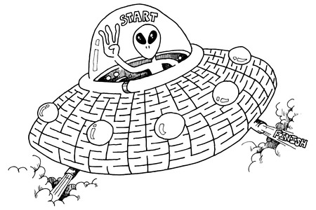 martian: An illustration of a martian in a UFO. Complete the maze.
