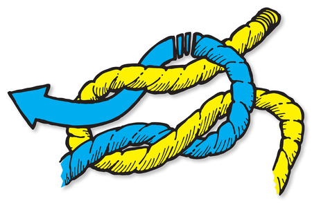 square shape: An illustration of how to tie a reef knot or a square knot.