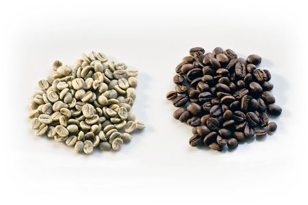 green bean: Green beans and roasted coffee beans on white background
