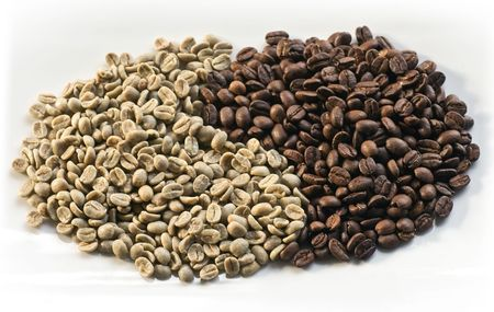aotearoa: Green beans and roasted coffee beans on white background
