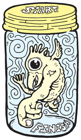 specimen: An illustration of a imaginary creature in a jar. A fun maze to solve.