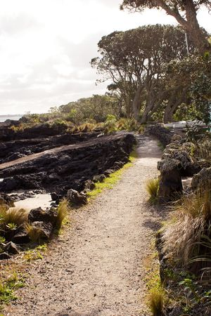 scoria: A shell path winds around the edge of Rangitoto Island in the Hauraki Gulf of New Zealand. Prisoners from Mount Eden Prison in Auckland built the roads and paths on Rangitoto Island.