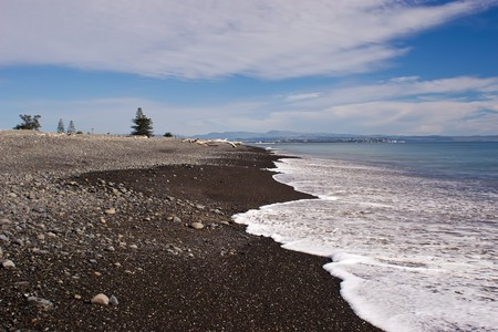 Haumoana Beach looking towards Napier City, Hawkes Bay, New Zealand photo