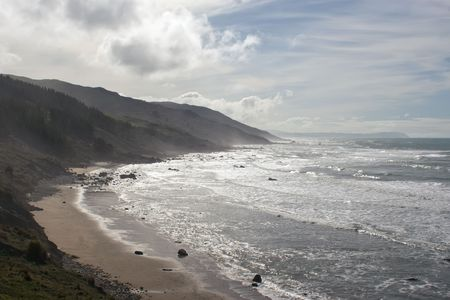 A stretch of beach on the East Coast of Southern Hawkes Bay. Between Porangahau and Whangaehu Beaches. Stock Photo