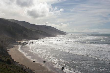 aotearoa: A stretch of beach on the East Coast of Southern Hawkes Bay. Between Porangahau and Whangaehu Beaches. Stock Photo