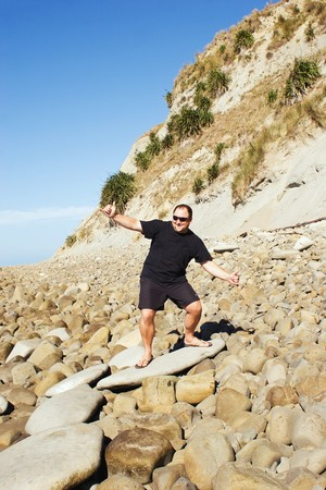 demonstrated: The little known sport of rock surfing. Demonstrated at Whangaehu Beach, Central Hawkes Bay, New Zealand.