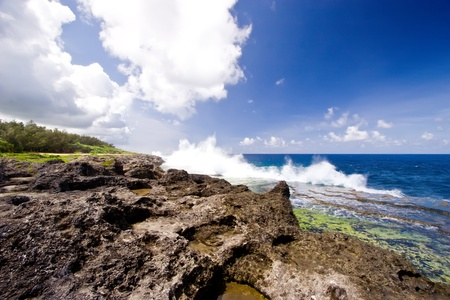 The blowholes put on a spectacular display at Houma on the western side of Tongatapu Island in the Pacific. Stock Photo