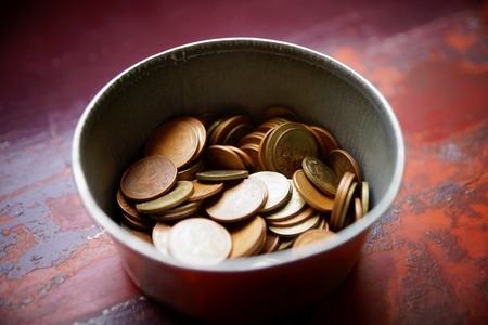bucket of money: Donation for buddhism temple
