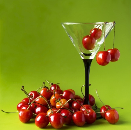 Sweet cherries in a martini-glass  Stock Photo