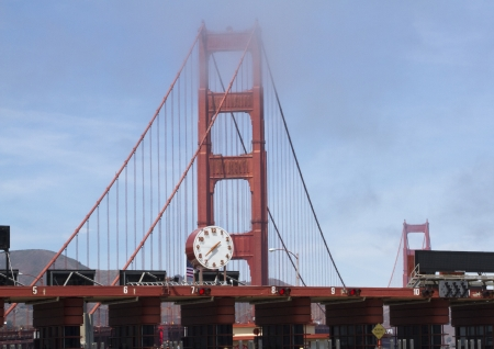 The Toll Booth at the Golden Gate Bridge during the day with light fog