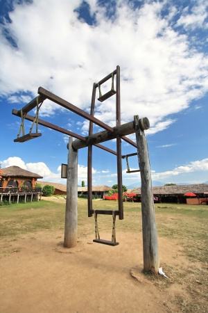 Hill tribes s swing at countryside of Thailand photo
