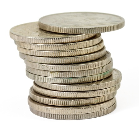 pennie: Stack of Thai coins  baht  on white background Stock Photo