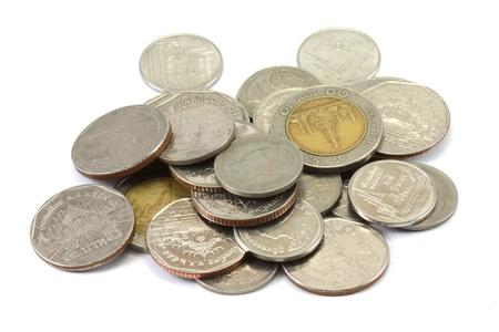 pennie: Thai coins  baht  on white background