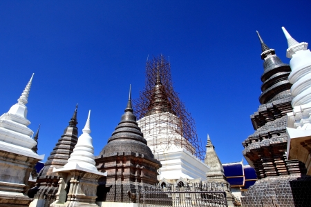 A group of under construction pagoda in Thailand photo