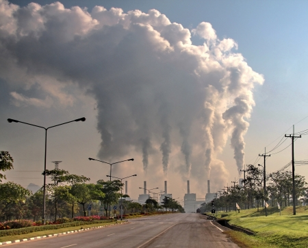 greenhouse gas: smoke from coal power plant, Industry pollution Stock Photo