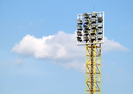 Light stadium or Sports lighting against blue sky photo