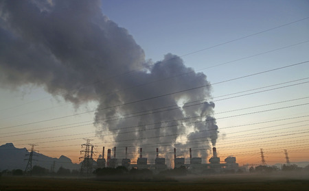 smoke stack: smoke from coal power plant, Industry pollution Stock Photo