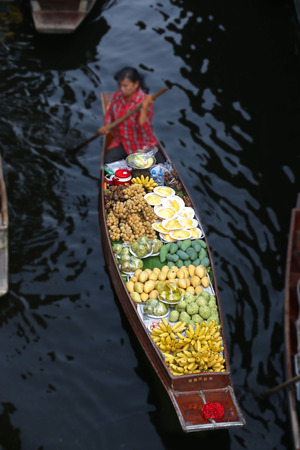 Various of tropical fruit in a boat at Floating market,Thailand