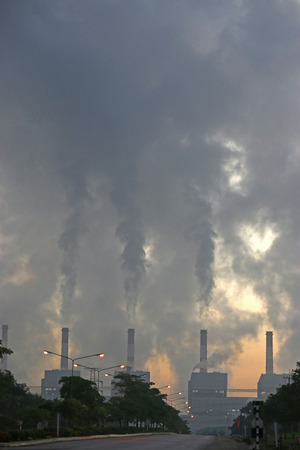 carbon pollution: smoke from coal power plant Industry pollution Stock Photo