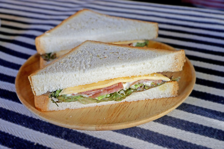 sandwish: Double ham and bacon cheese sandwich Stock Photo