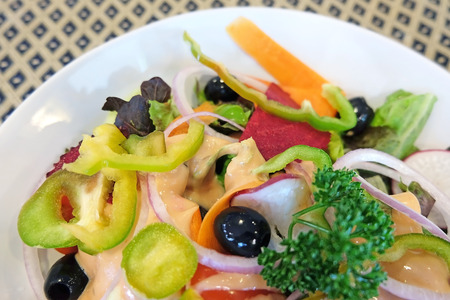 Closed up cropped caesar salad