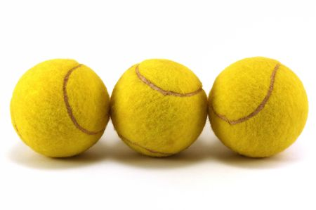 Three tennis balls with white background  Stock Photo