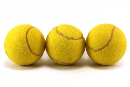 Three tennis balls with white background  Stock Photo