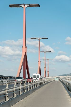 road and path through: Lagymanyosi bridge from sidewalk with traffic at Budapest (Hungary).