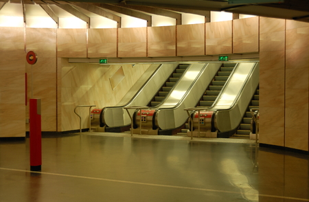 Metro station interior at Deak square in Budapest, Hungary