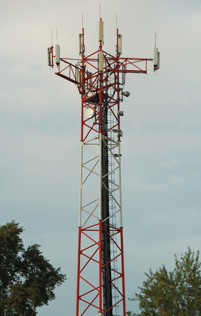 microwave antenna: Big communication tower with GSM and microwave antenna in Budapest (Hungary). Stock Photo
