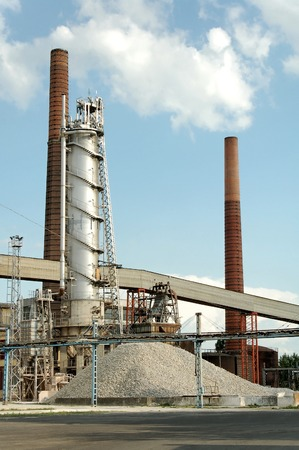 Sugar factory with chimney at Szerencs (Hungary) photo