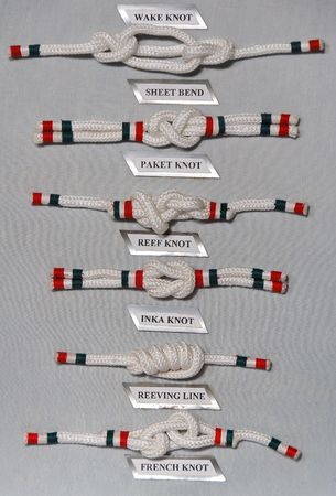 Six type of knot with names. Stock Photo