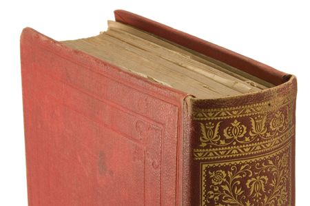 thesaurus: Very old book (published in 1895) detail with white background. Stock Photo