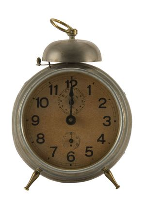 12 oclock: Old alarm clock at 12 oclock against white background.