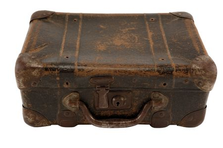Old brown suitcase for travel white background.