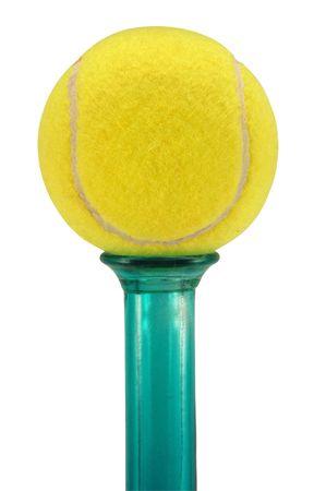 A tennis ball put onto a vase, isolated on white. Stock Photo - 2460129