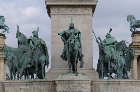 Detail of Heroes Square in Budapest, Hungary. Stock Photo